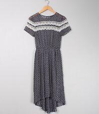 Topshop Chiffon Patterned Lace Midi Drop Hem Dress Size 8
