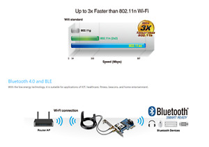 Asus IEEE 802.11ac PCE-AC55BT 4.2 Wi-Fi/Bluetooth Adapter desktop PC Low Profile