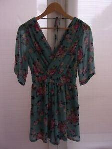 TFNC Women's Blue Floral Chiffon Wrap Stretch Waist Pocket Playsuit Size Medium
