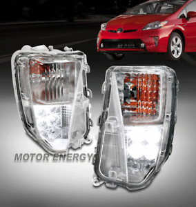 For 12-15 Toyota Prius Front Bumper LED DRL Signal Lights Lamp Chrome Left+Right