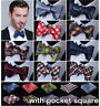 Checks Floral Mens Self Bow Ties Woven Silk Wedding Bowtie Handkerchief Set ECC