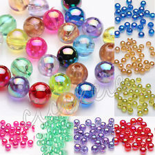 50/100Pc Acrylic Plated AB Round Loose Spacer Beads Jewelry Making DIY 8mm