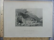 Rare Antique Original VTG Wall Of The Virgin Jerusalem Bible Engraving Art Print