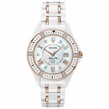 Bulova Women's 17 Diamonds Marine Star White and Rose Gold Ceramic Watch 98R241