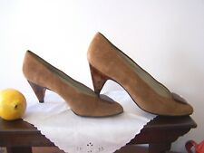 Vtg Suede Sesto Meucci,Florence Italy Size 6 Pumps,Marble Woodgrain Heels 1980s