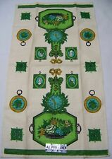 Vintage Kitchen Linen Tea Towel Colonial Clock Parisian Print Green Blue Gold