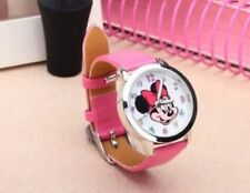 Kids Girls Minnie Mouse Dark Pink Mickey Wrist Watch Analogue Leather Strap Slim