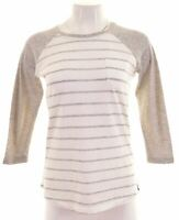 SUPERDRY Womens Top 3/4 Sleeve Size 10 Small White Striped Polyester  HS09
