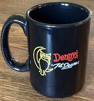 DENNYS Restaurant Til Dawn RARE Black Ceramic Coffee Mug 16oz Heat Activated
