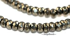 PALAZZO PYRITE GEMSTONE FACETED RONDELLE 4X3MM LOOSE BEADS 15.5""