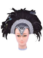 Black Silver Feather Helmet Carnival Burlesque Dancer Headdress Fancy Dress New