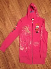 ED HARDY Women's Size S Hot Pink Free Love Logo Hoodie/Sweater