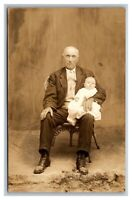 Portrait Older Man and Baby RPPC Real Photo Postcard Divided Back