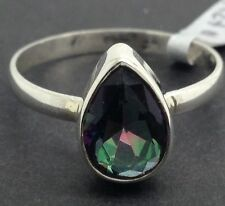 Mystic Topaz solid Sterling Silver Ring Uk Size P 1/2, New, Pear Cut, Actual One