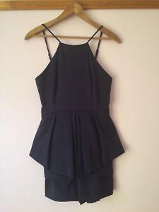 Valleygirl peplum jumpsuit navy blue black playsuit pleats mini 8 NEW beautiful