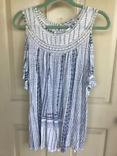 Lucky Brand 1X Plus White Blue Embroidered Knit Cold Shoulder Shirt
