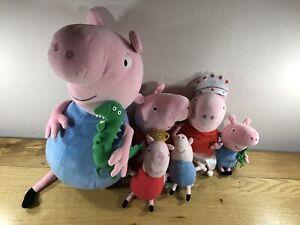 Giant Peppa Pig + 5 X Peppa Pigs Plush Teddy Bundle Ty Beanies 2001-2003 George