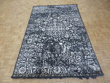 5'11 X 9'3 Hand Knotted Black Gray Tone On Tone Wool & Silk Oriental Rug G5935