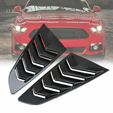2PCS Carbon Black Vent Window Louver Car Scoop Cover ABS For Ford Mustang 15-18