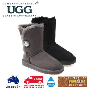 OZWEAR UGG Button Boots with Swarovski (TPR Sole) (Water Resistant) OB211