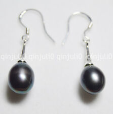 9-10 mm Real Natural Black Tahitian Pearl rokymoter drop earring silver Hook je53
