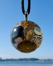 Vortex TOURMALINE Positive Energy Orgone Dome Pendant with Bird Totem and Gold.