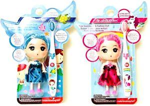 2 Brush Buddies Ultra Soft Bristles Blue & Pink Kids Toothbrush & Fashion Doll