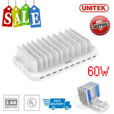 UNITEK Universal 10 Port 60W USB Charging Station 2.4A Charger Organizer Stand