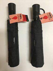 2 pk Raines Totes Automatic Open Umbrella L Large Coverage Black Compact