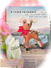 Vintage 1950s Toy Knitting Pattern Cuddly Deer Fawn  JUST £1.79 !!!!