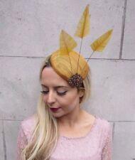Gold Bronze Statement Feather Pillbox Hat Fascinator Cocktail Races Hair 4412