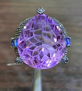 NATURAL AMETHYST 21X18 SAPPHIRE DIAMOND CUT STERLING SILVER925 RING