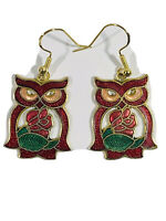 Vintage CLOISONNE Earrings Owl Pierced Dangle Red Green w Rose Cut Out Gold Tone