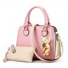 Women Handbag Shoulder Bags Tote Purse PU Leather Lady Messenger Hobo Bag Pink
