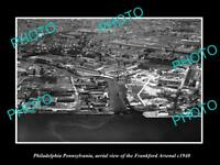 OLD LARGE HISTORIC PHOTO OF PHILADELPHIA PA AERIAL VIEW FRANKFORT ARSENAL c1940