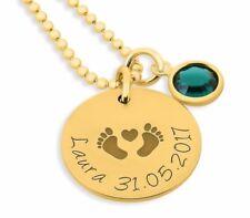 Kette mit Gravur, Namenskette vergoldet,Goldkette mit Namen, Geburtsstein