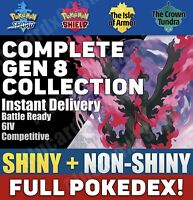 Pokemon Home All SWORD SHIELD Full Galar Complete Pokedex SHINY NON Battle Ready