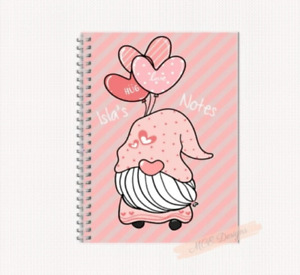 Pink personalised Gonk (gnome) A5 Notebook/ Sketchpad Gonk stationery