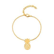 Gold/Silver Alloy Pineapple Pendant Chain Bracelet Women Girls Charms Jewelry