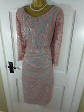 Carla Ruiz Pink & Turquoise Blue Lace Mother Of Bride Beaded Dress, UK 16, BNWOT