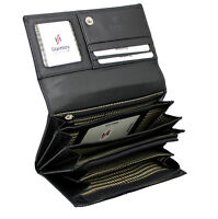 Ladies Luxury Real Nappa Leather Long Flap-over Purse Multi Card Wallet 5510 BlK