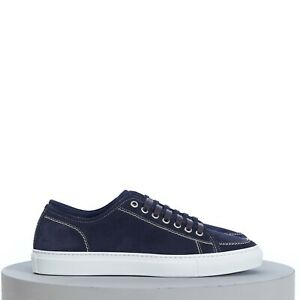 BRIONI 670$ Classic Tennis Sneakers In Buttersoft Navy Blue Suede
