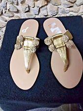NWT Loeffer Randall Sasie Gks gold flat thong sandal size 6.5 only $74.99!