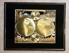 Vintage Old World Map Two Hemispheres Gold Foil Matted Framed Print