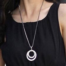 Women Silver Crystal Rhinestone Pendant Necklace Long Chain Fashion Jewelry