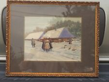 Eduado Gelli 1852-1933 Russian Winter Scene Figures Signed Italian Art Listed