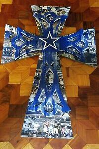 "Dallas Cowboys 22"" Wooden Cross w/STAR & Graphics Wall Art/Decor NFL BEAUTIFUL"