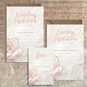 WEDDING INVITATIONS BLANK GOLD & BLUSH ROSE, MARBLE PRINT, PACKS OF 10