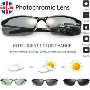UK Polarized Photochromic Sunglasses Mens UV400 Driving Transition Lens Glasses.