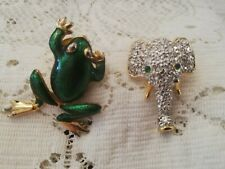 Vintage Frog & Elephant Pin Brooches